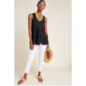 Anthropologie Black Tunic Ruffle Tank Top Crochet